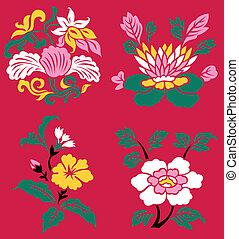 oriental, flor, planta, ilustración