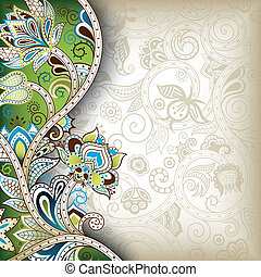 Oriental Floral Background - Illustration of abstract floral...
