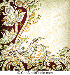 Oriental Floral - Illustration of abstract swirly floral...