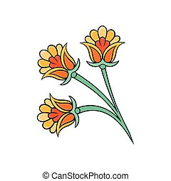 Oriental floral ornament. Colorful linear indian pattern. Ethnic decorative element. Vector design for wall decor or textile
