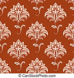 Oriental floral seamless pattern on maroon background