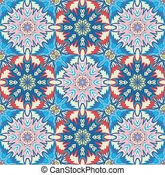 Oriental floral traditional blue pink ornament, Mediterranean seamless pattern, Turkish tile design, vector illustration
