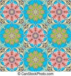 Oriental floral traditional green pink ornament, Mediterranean seamless pattern, Turkish tile design, vector illustration