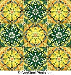 Oriental floral traditional orange green ornament, Mediterranean seamless pattern, Turkish tile design, vector illustration