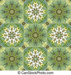 Oriental floral traditional ornament, Mediterranean green yellow seamless pattern, Turkish tile design, vector illustration