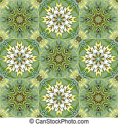 Oriental floral traditional ornament, Mediterranean green yellow seamless pattern, Turkish tile design, vector illustration