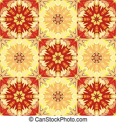Oriental floral traditional ornament, Mediterranean yellow red seamless pattern, Turkish tile design, vector illustration