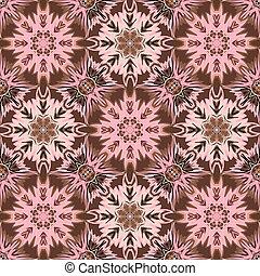 Oriental floral traditional ornament, Mediterranean pink brown seamless pattern, Turkish tile design, vector illustration