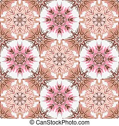Oriental floral traditional pink brown ornament, Mediterranean seamless pattern, Turkish tile design, vector illustration