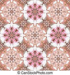 Oriental floral traditional pink brown ornament, Mediterranean seamless pattern, Turkish tile design, vector illustration