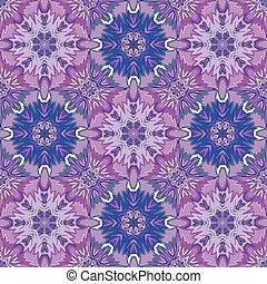 Oriental floral traditional violet lilac ornament, Mediterranean seamless pattern, Turkish tile design, vector illustration