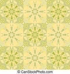 Oriental floral traditional yellow green ornament, Mediterranean seamless pattern, Turkish tile design, vector illustration