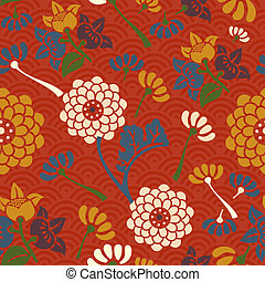 Oriental flowers seamless pattern
