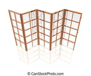 Oriental folding screen isolated on a white in 3d