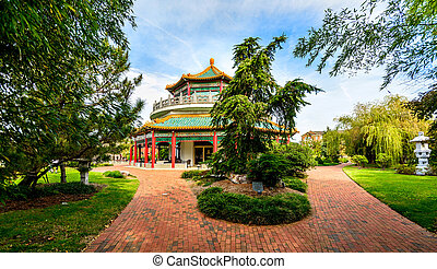 The Oriental Gadens and Pagoda. Located in Downtown Norfolk Virginia.