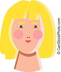 Oriental girl with yellow hair vector or color illustration