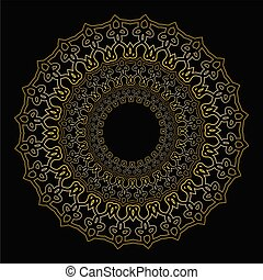 Oriental golden geometric ornament, lace filigree circle patterns on black background. Beautiful decorative design element for luxurious products.