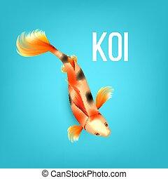 Oriental Golden Koi Fish With Black Spots Vector
