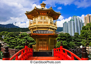 oriental golden pavilion of Chi Lin Nunnery and Chinese garden, landmark in Hong Kong