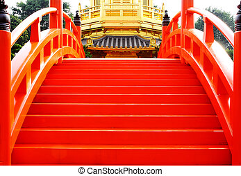 oriental golden pavilion of Chi Lin Nunnery and Chinese garden, landmark in Hong Kong .
