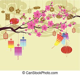 Oriental Happy Chinese New Year 2018 blossom. Chinese baclground