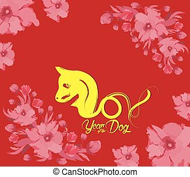 Oriental Happy Chinese New Year 2018 with cake and blossom. Year of the dog