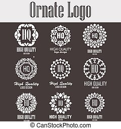Oriental high quality logo templates set. Vector ethnic ornamental design for beauty salons, spa, massage, barber shops, saunas, healthcare and medicine.