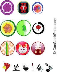oriental, iconos, blanco