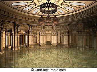 oriental, ilustração, palácio, 3d