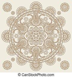 Oriental Indian paisley boho mehendi mandala. Vector...