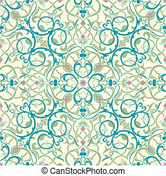 oriental, inspirado, seamless, meio, desenho, azulejo