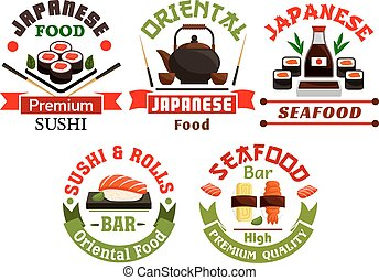 Oriental Japanese food restaurant icons