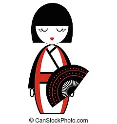 Oriental Japanese geisha doll with kimono with orinetal fan ...