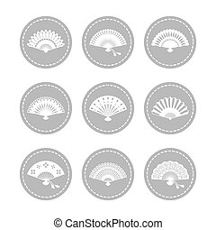 Oriental japanese hand fans icons vector collection