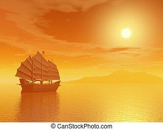 Oriental junk by sunset - Oriental junk alone in the sea far...