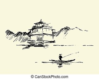 Oriental landscape pagoda lake drawn vector sketch