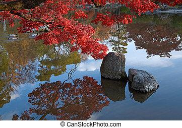 oriental landscape - summer japanese landscape with pond and...