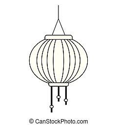 oriental lantern icon, flat design