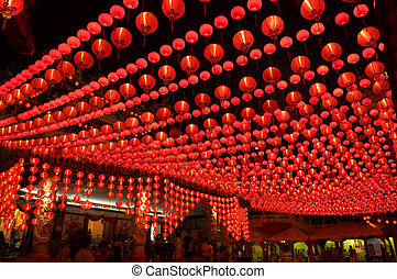 Oriental lanterns display at temple