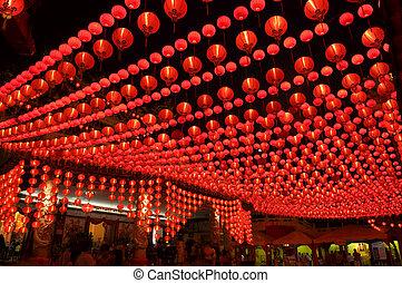 Oriental lanterns display at temple