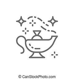 Oriental magic lamp, Aladdin vessel line icon. - Vector...