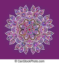 Oriental mandala motif round lase pattern on the pink...