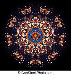 Oriental mandala motif round lase pattern on the black...