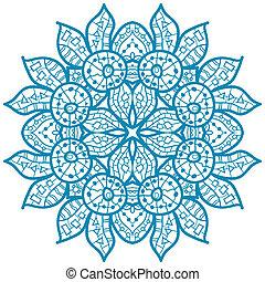 Oriental mandala motif - Oriental Blue mandala motif round...