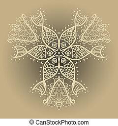 Oriental mandala motif - Fishes ornament. Oriental mandala...