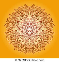 Oriental mandala motif round lase pattern on the yellow...