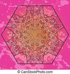 Oriental mandala motif in pink