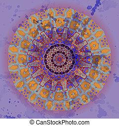 Oriental mandala motif round lase pattern on the blue...