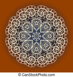 Oriental mandala motif round lase pattern on the yellow background, like snowflake or mehndi paint of orange color. Ethnic backgrounds concept
