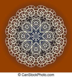 Oriental mandala motif round lase pattern on the yellow ...